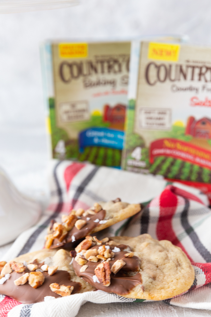 Toffee pecan christmas cookies on a red plaid napkin