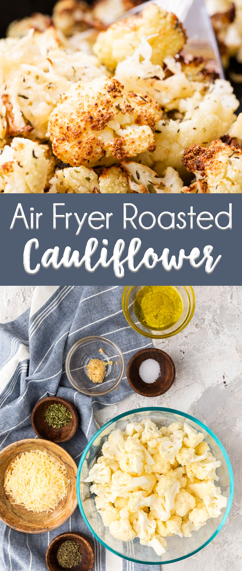 Deliciously crispy, but fork tender cauliflower roasted in an air fryer