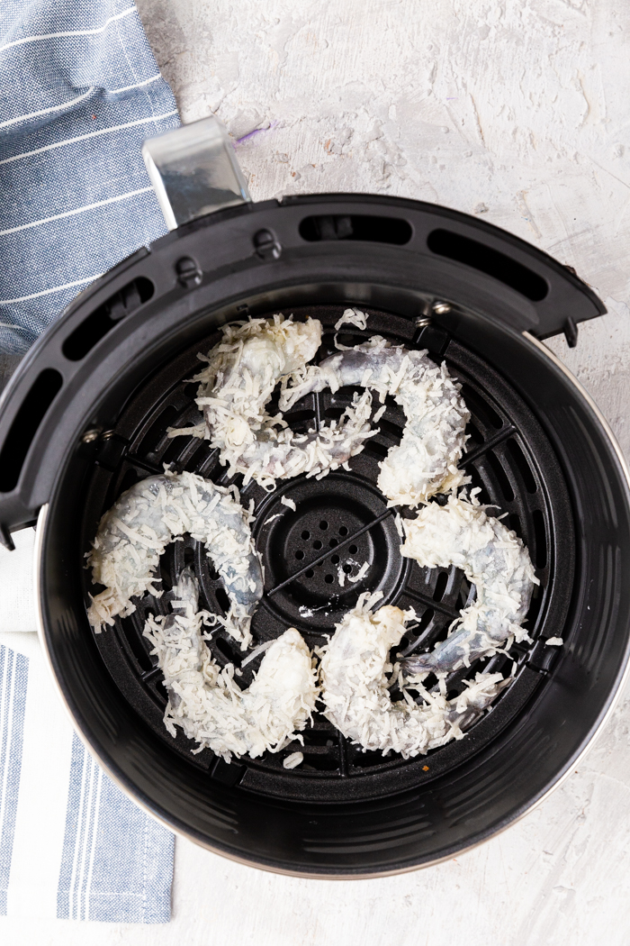 Uncooked shrimp, in an air fryer