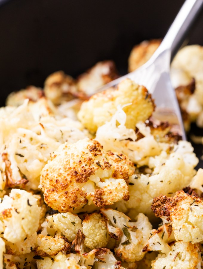 Air fryer roasted cauliflower, with parmesan cheese and seasonings