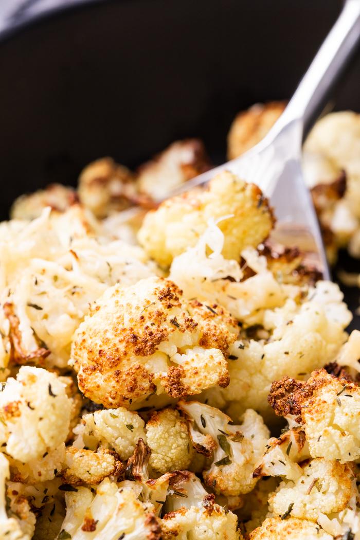 Air fryer roasted cauliflower, with parmesan cheese and seasonings