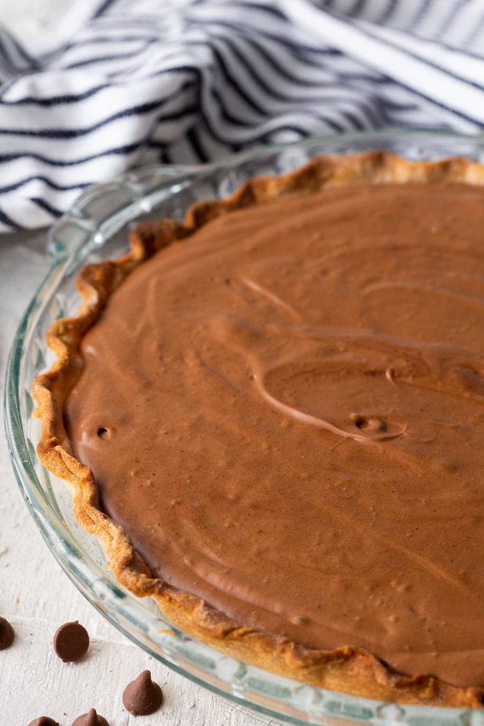 A delicious chocolate pie, creamy, silky, and rich