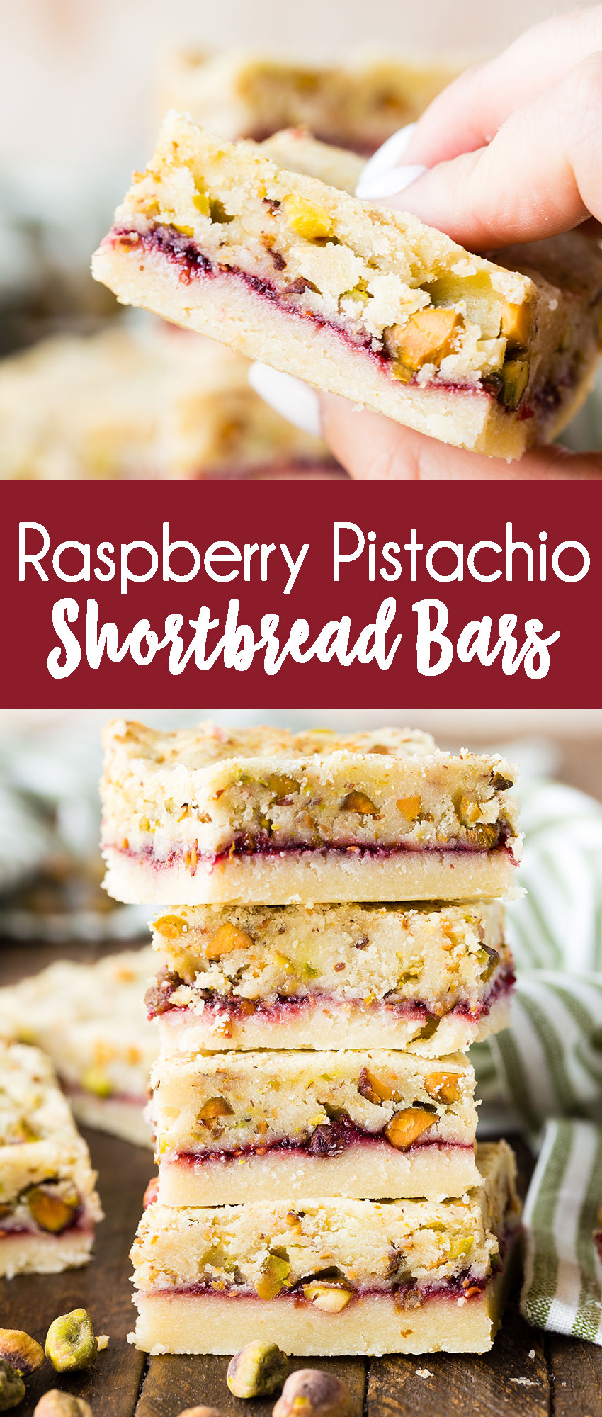 Buttery shortbread with a jam and pistachio layer, to make a cookie bar