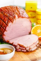 Honey baked ham, with a sweet and spicy glaze.
