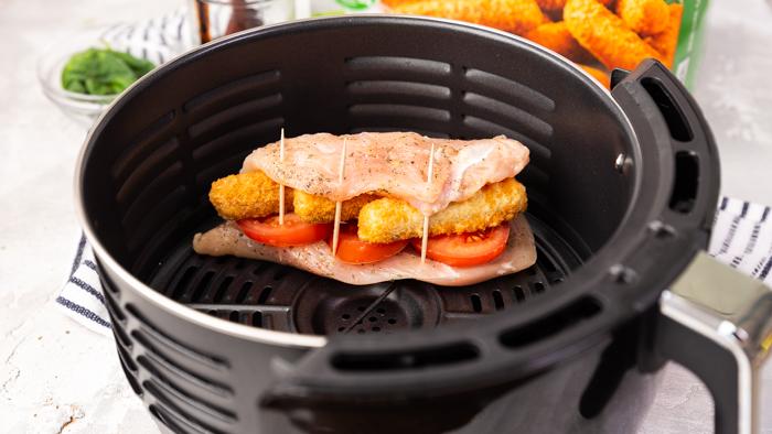 Air fryer cooked caprese chicken