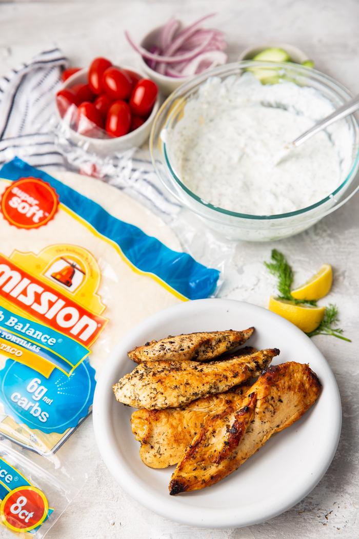 Greek Chicken Wraps ingredients