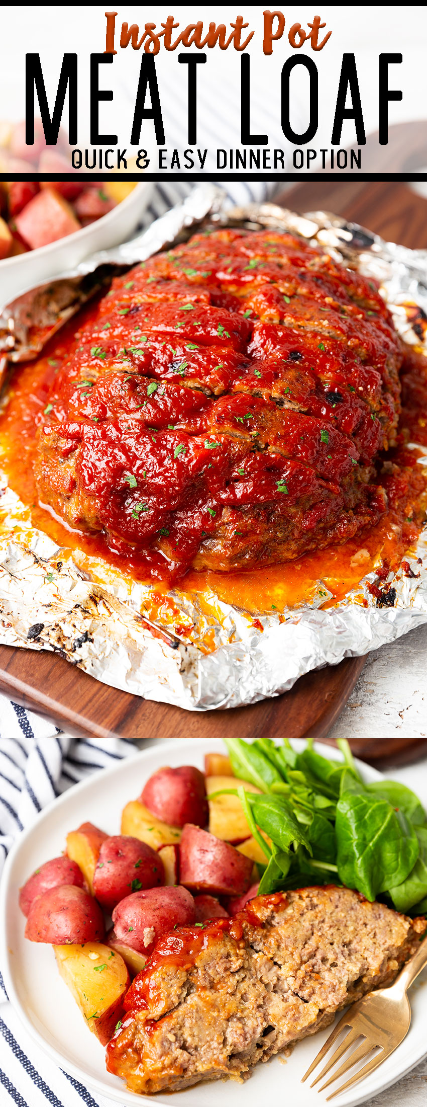 An amazing and easy instant pot meatloaf, made with delicious spices, and parmesan cheese, and topped with an amazing sauce.