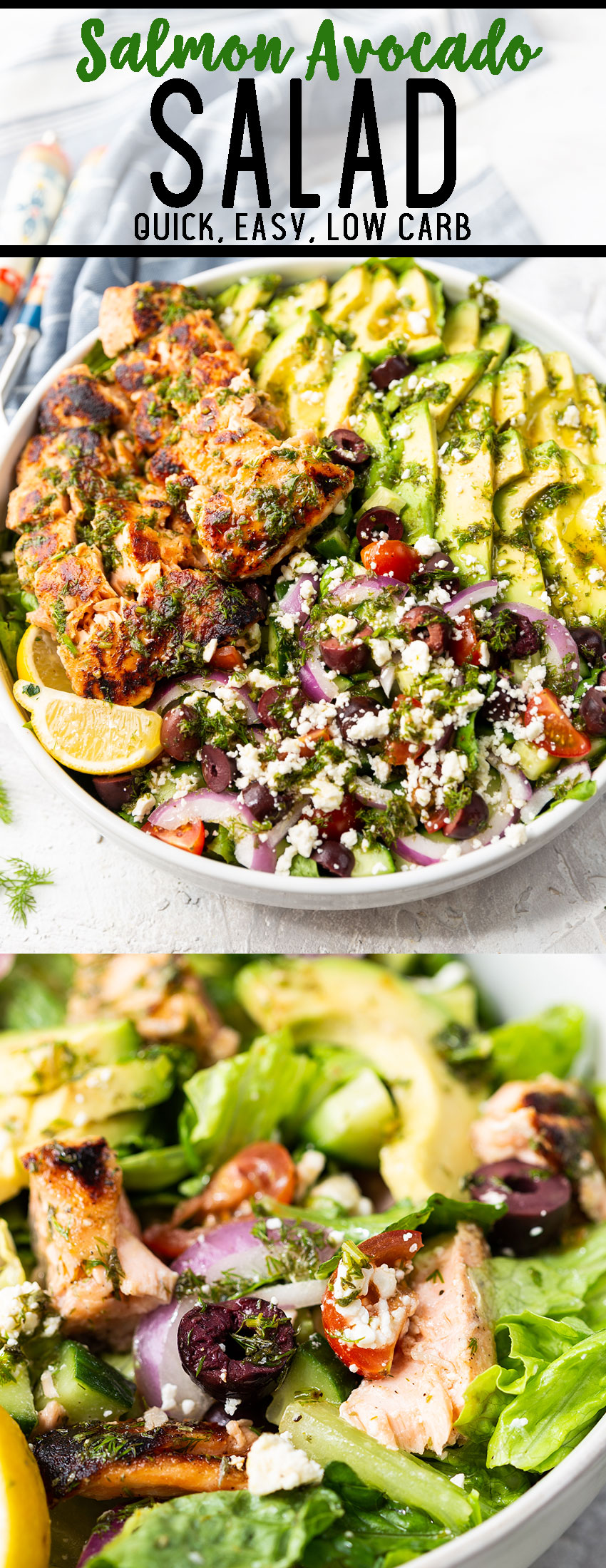 Salmon Avocado salad: A low carb salad packed with flavor. With seared salmon. sliced avocado, and a mediterranean mix of olives, tomatoes, and cucumbers, this is a salad that is perfection.
