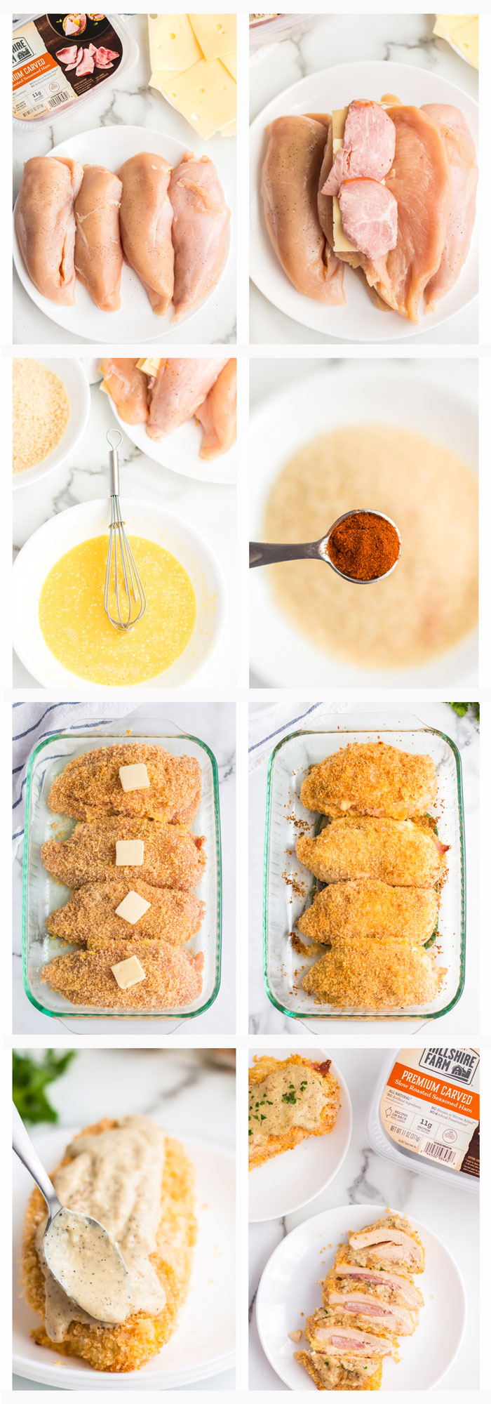 A series of process shots for how to make chicken cordon bleu, from creating the egg mixture and dredge to baking with butter on top