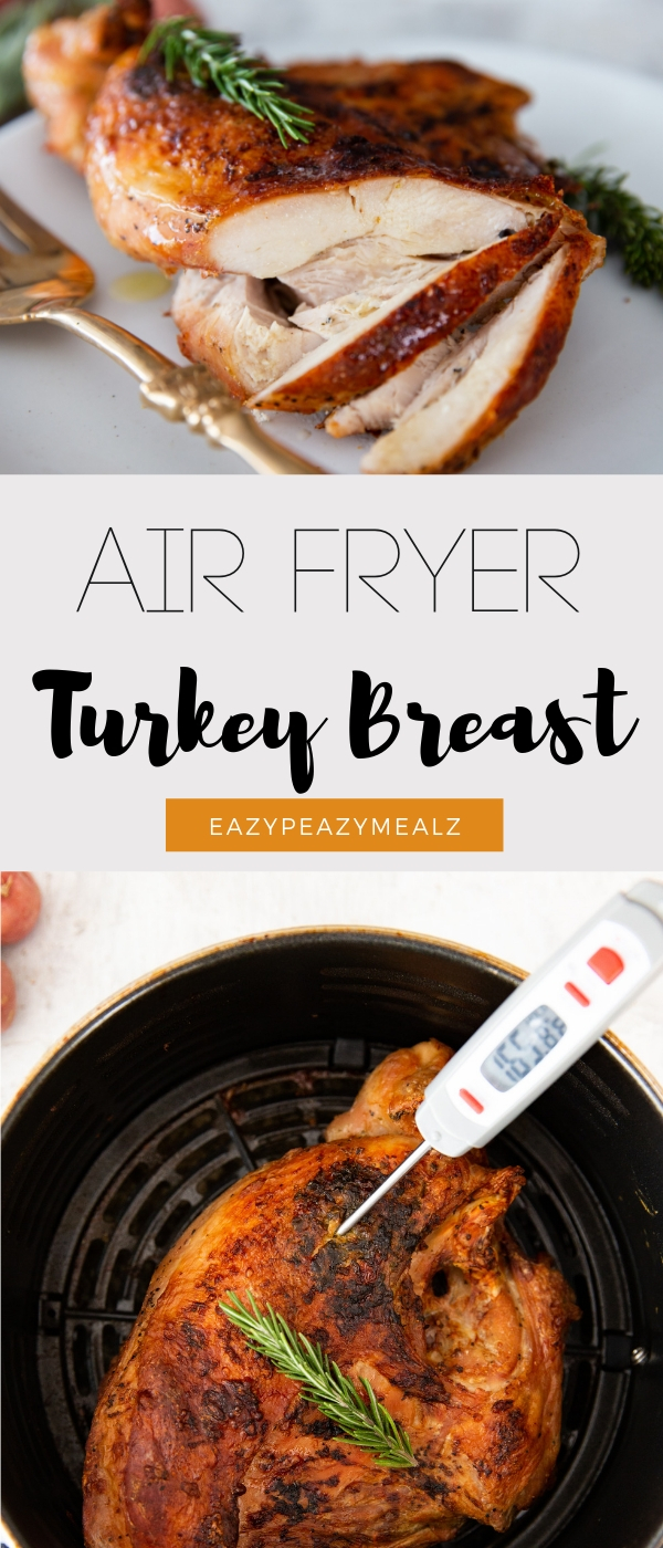 Air fryer turkey breast, the juiciest, easiest way to cook turkey, crispy skin, and no dry turkey!