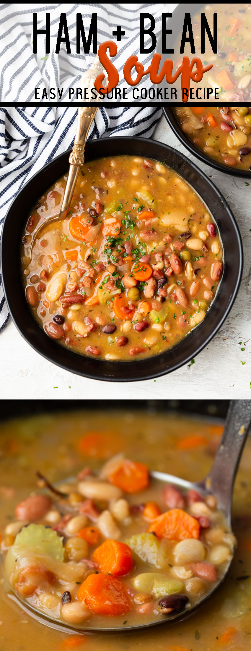 Ham and Bean Soup cooked in the instant pot pressure cooker.
