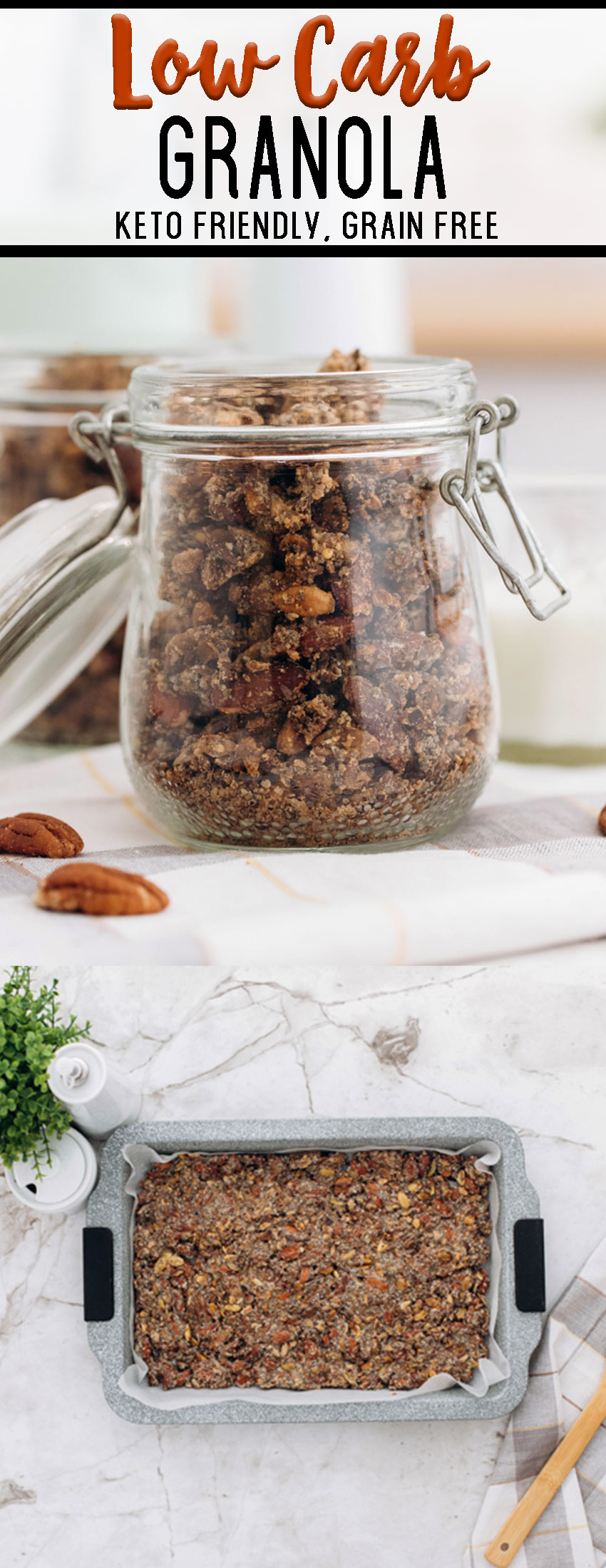 This delicious baked granola is homemade, and is keto friendly and low carb, has no grains.