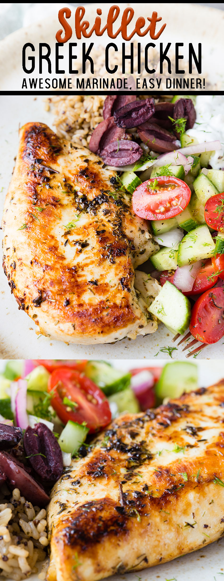 Skillet greek chicken, chicken marinated in a lovely combo of mediterranean flavors and seared to perfection stove top