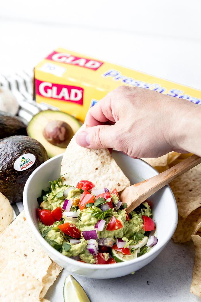 A bowl of classic guacamole