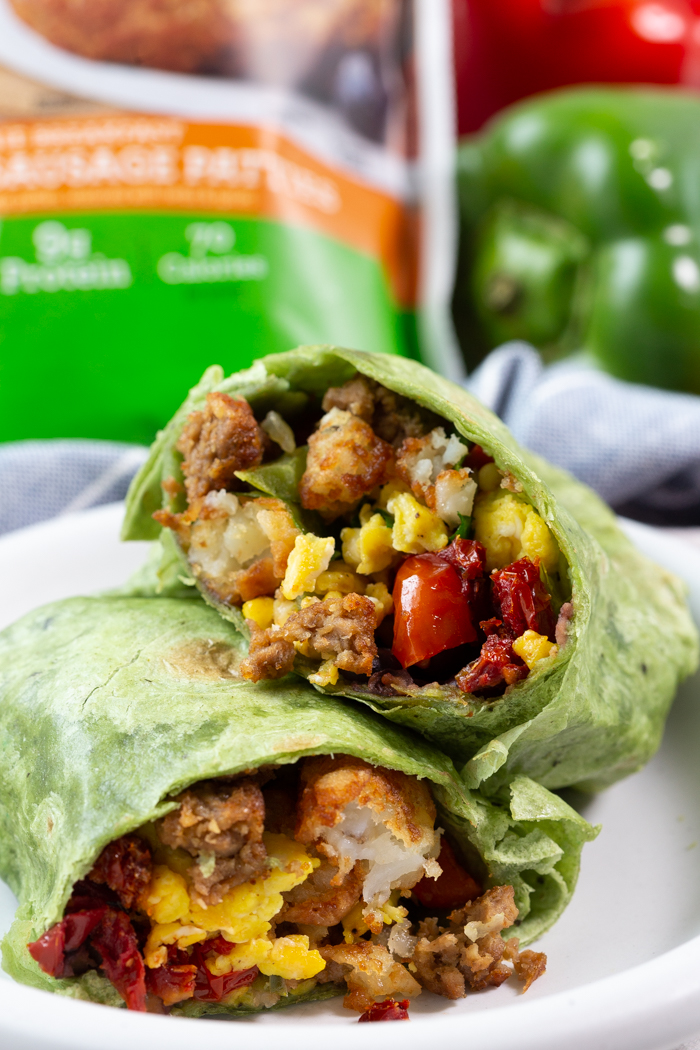 Veggie breakfast burrito with Morningstar Farms