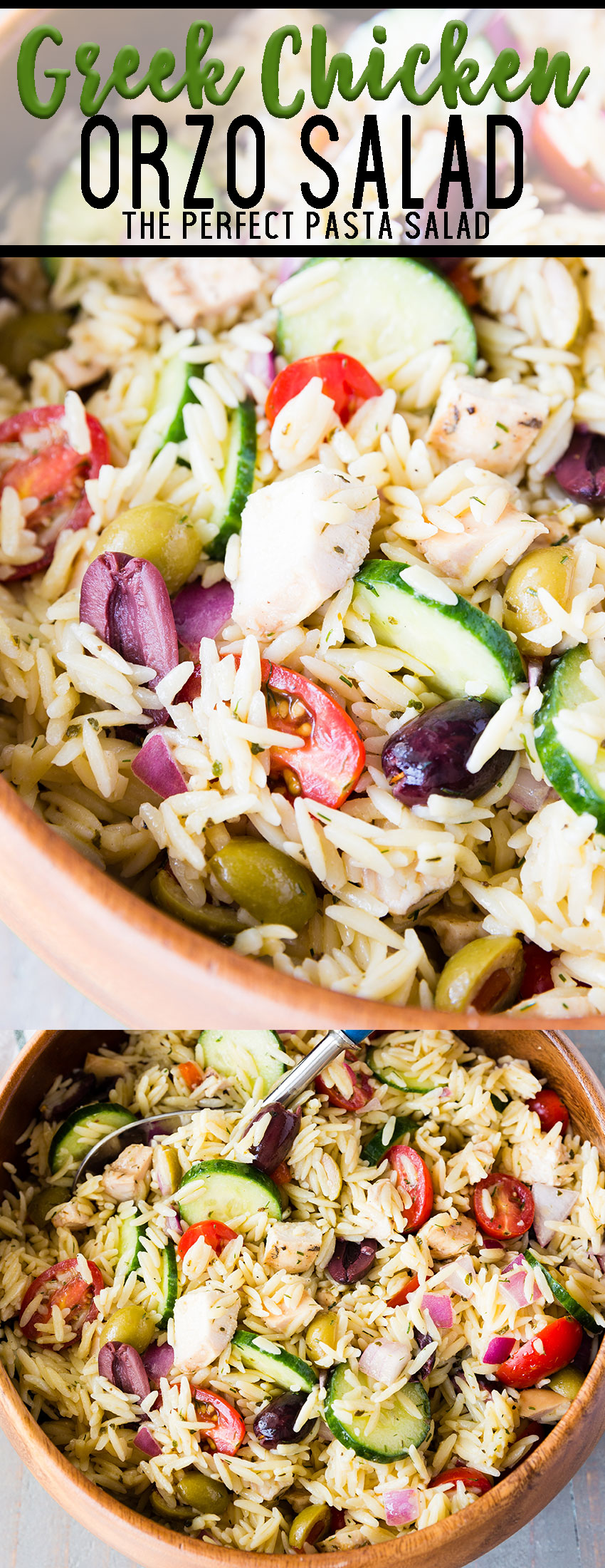 Greek Chicken Orzo Pasta Salad