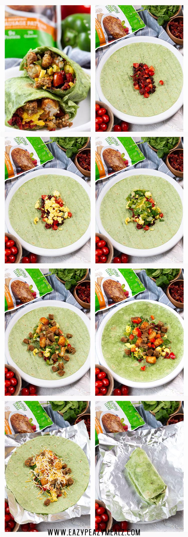 Veggie breakfast burritos step by step photos