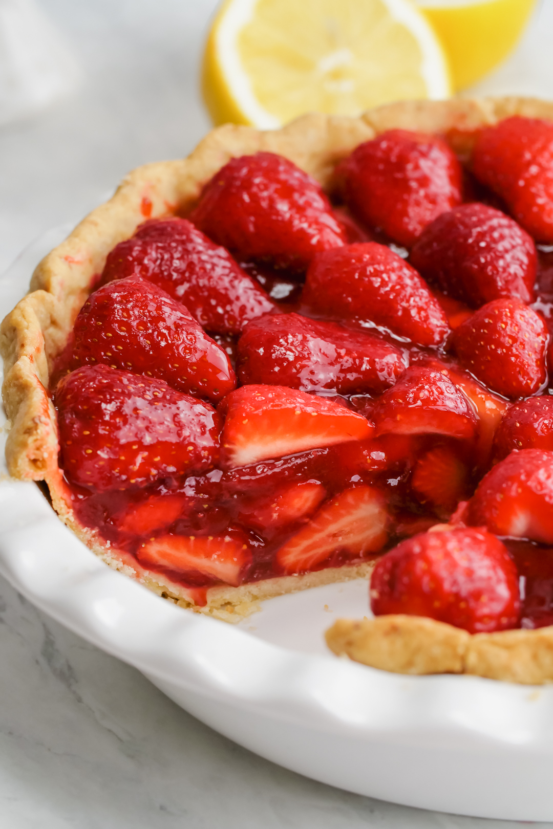 A close up shot of the filling for strawberry pie
