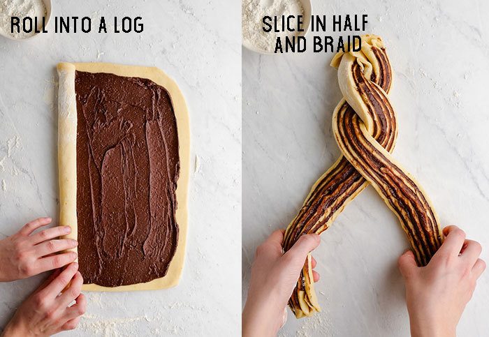 Two images combined, one rolling the log of chocolate babka, and the other showing braiding to two pieces of the log together to form a loaf.