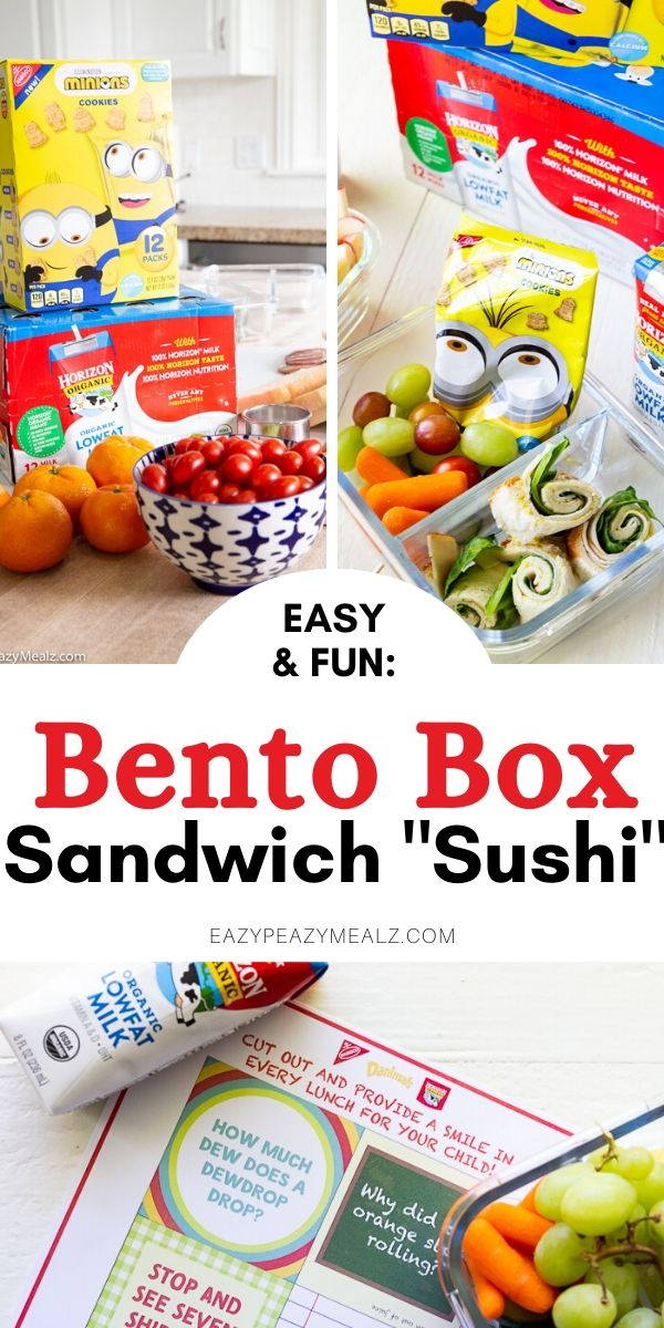 A pin image for bento box sandwich sushi lunch ideas