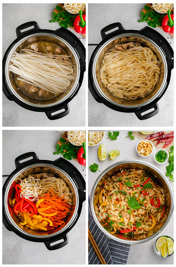 A collage image of how to make instant pot pad thai