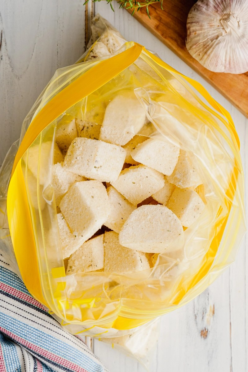 Crispy potatoes in a large zip top bag