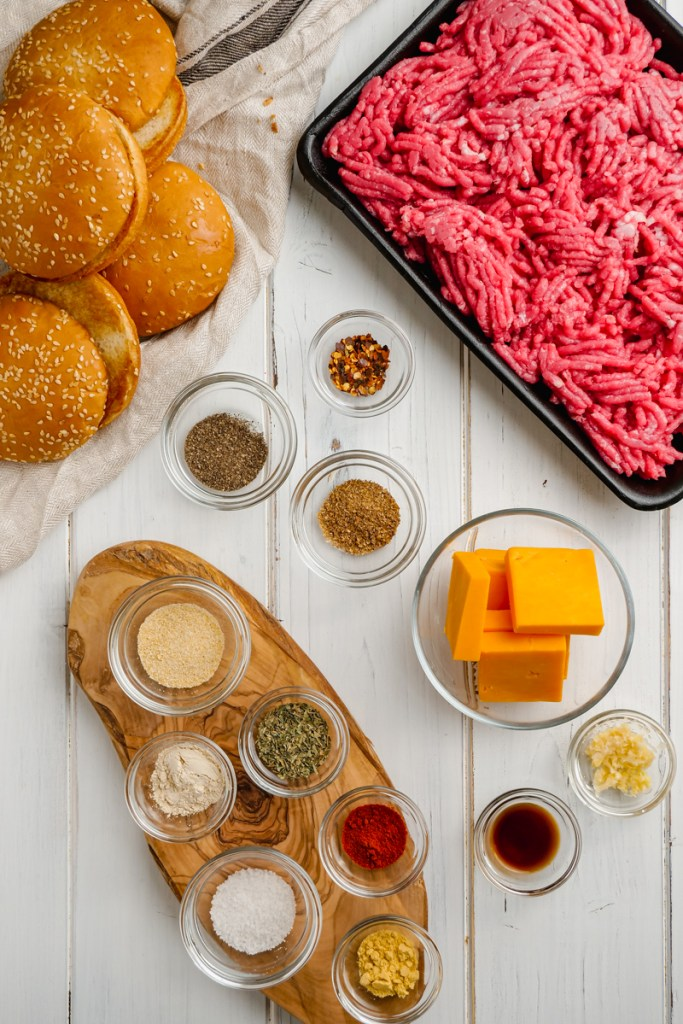 All the ingredients for Instant Pot Hamburgers