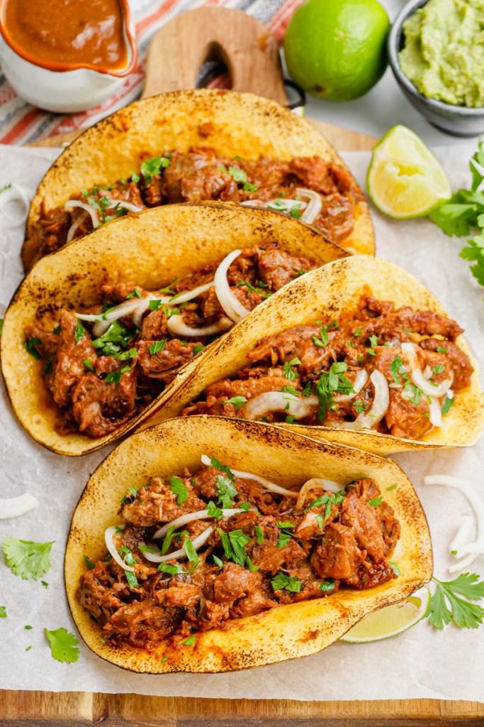 Pork mole tacos, with condiments