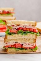 A sandwich made on sandwich bread