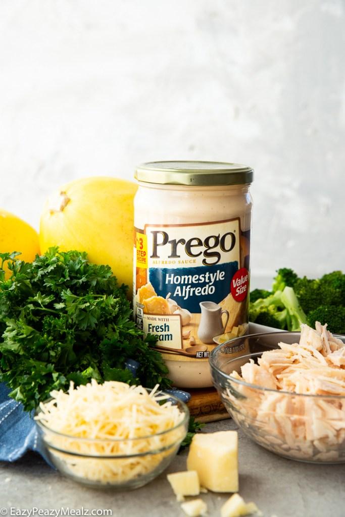 What you need to make broccoli chicken alfredo stuffed spaghetti squash