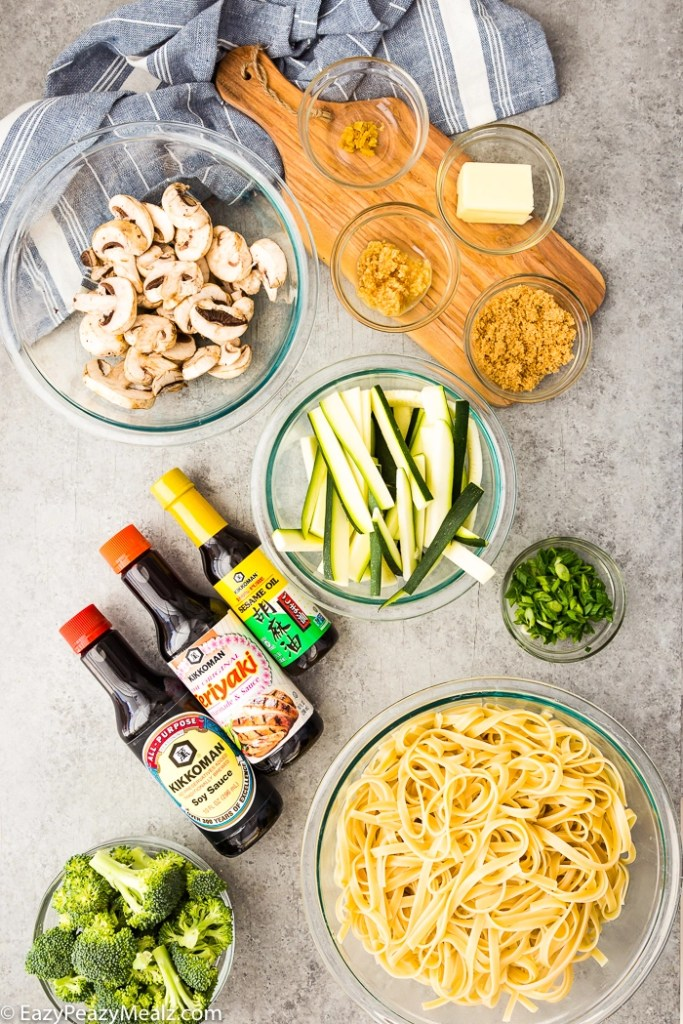 Ingredients for hibachi noodles