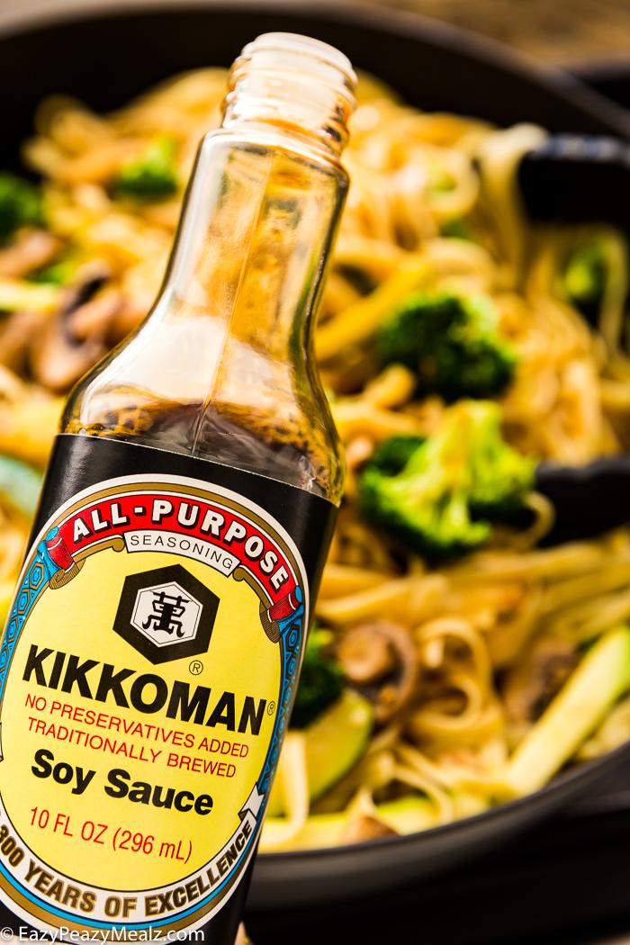 Kikkoman soy sauce, making hibachi noodles