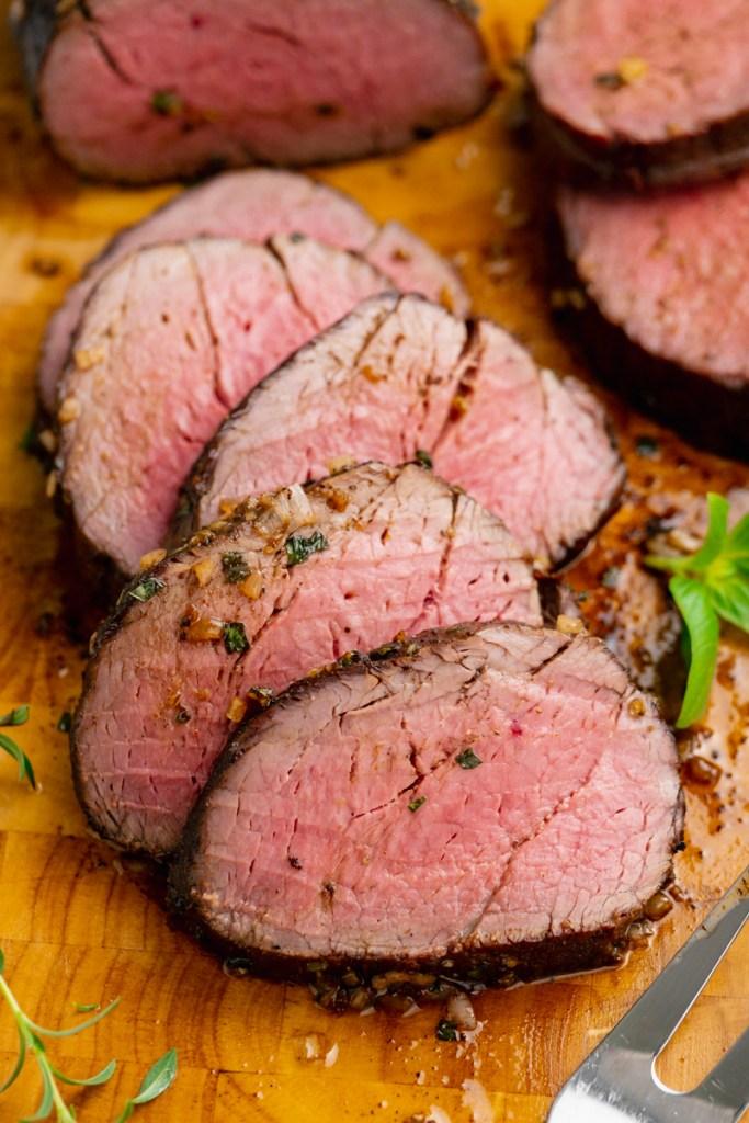 Slices of roast beef tenderloin