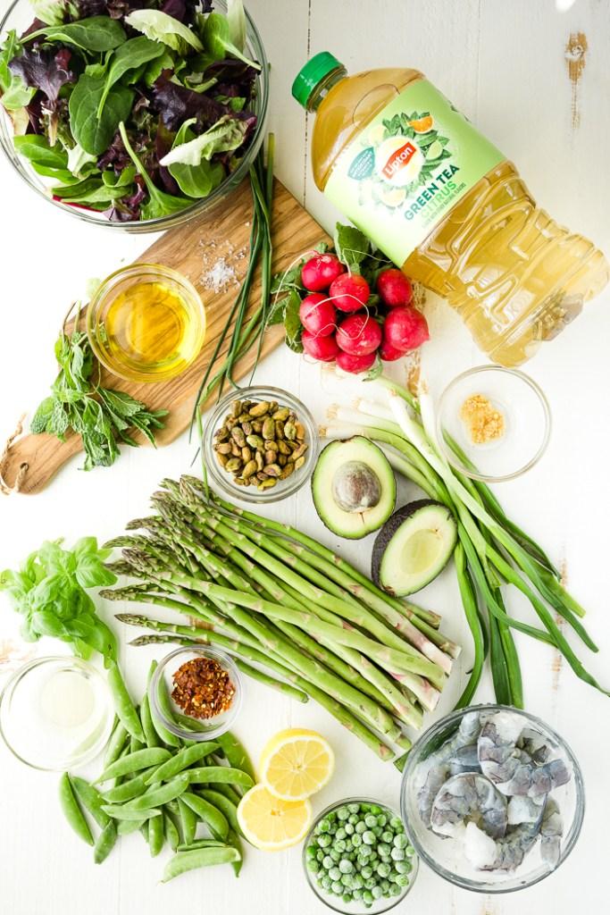 Ingredients for citrus shrimp spring salad