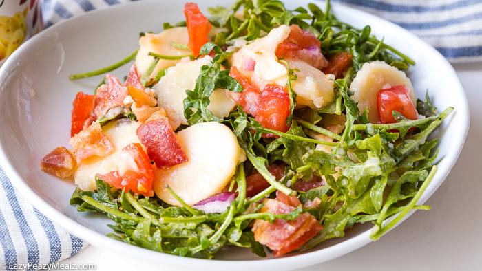 A plate of BLT potato salad