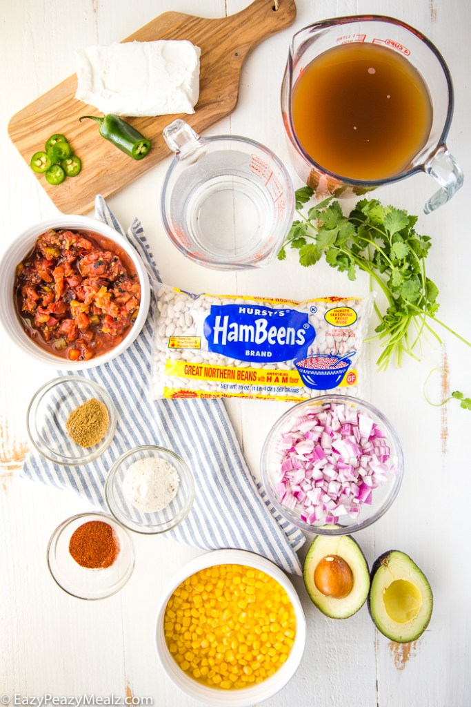 All the ingredients you need for white chicken chili