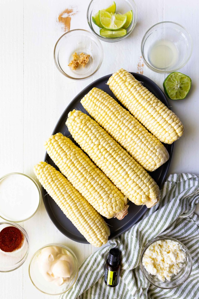 The ingredients you need for grilled elote street corn