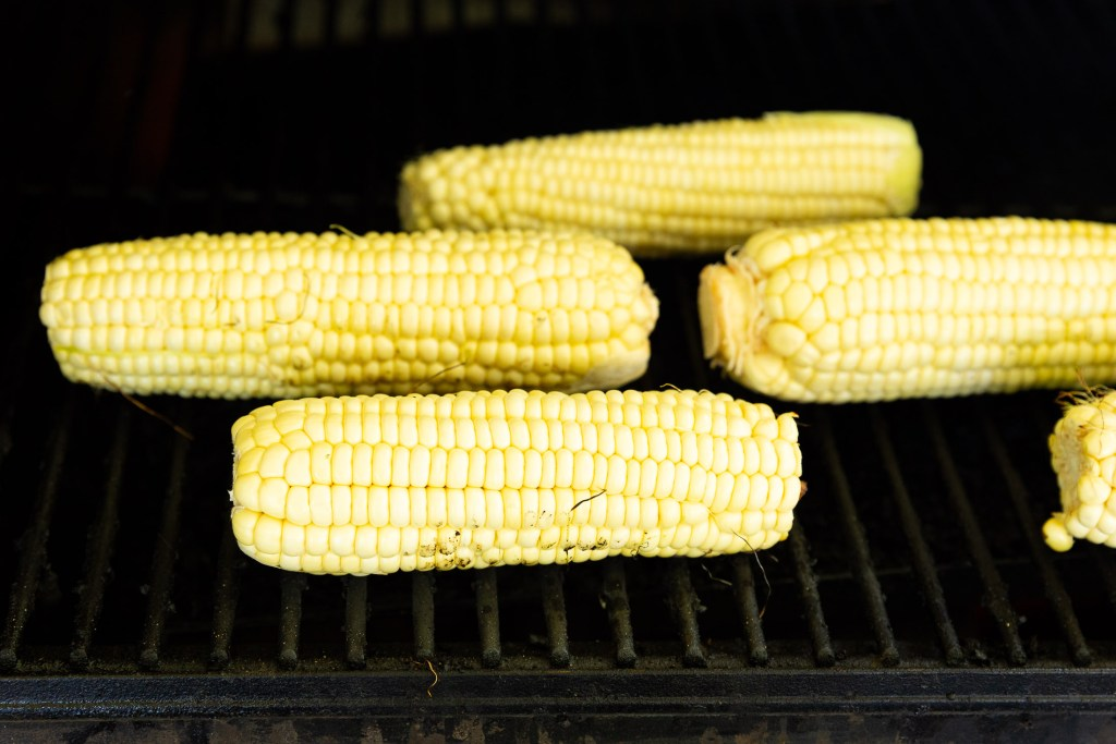 Grilling corn for elote