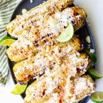 Elote- Mexican grilled street corn on a plate