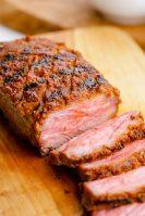 Sirloin steak, sliced after being grilled