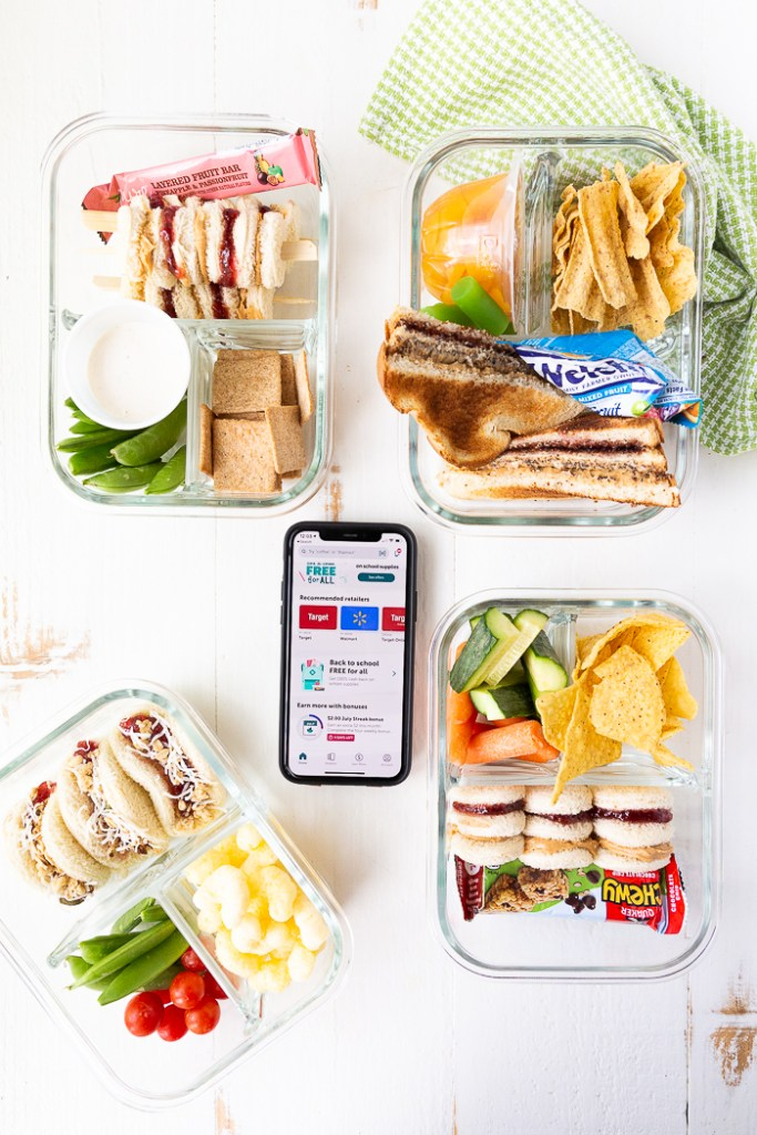 four lunchbox ideas using peanut butter and jelly in fun ways