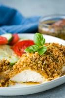 Lemon basil chicken, with crunchy panko coating and lemon butter garlic sauce.