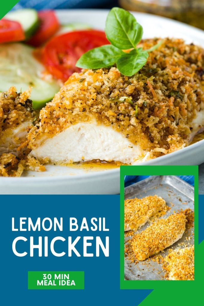 Lemon basil chicken with a panko coating.