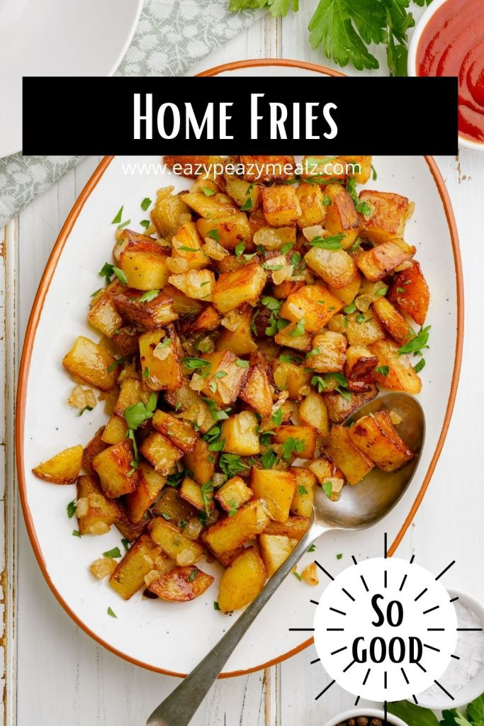 Home fries, the crispy, delicious potato dish that goes with everything and can be served for breakfast, lunch, or dinner.