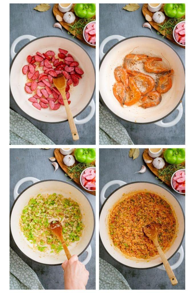 Making shrimp jambalaya, the process shotse