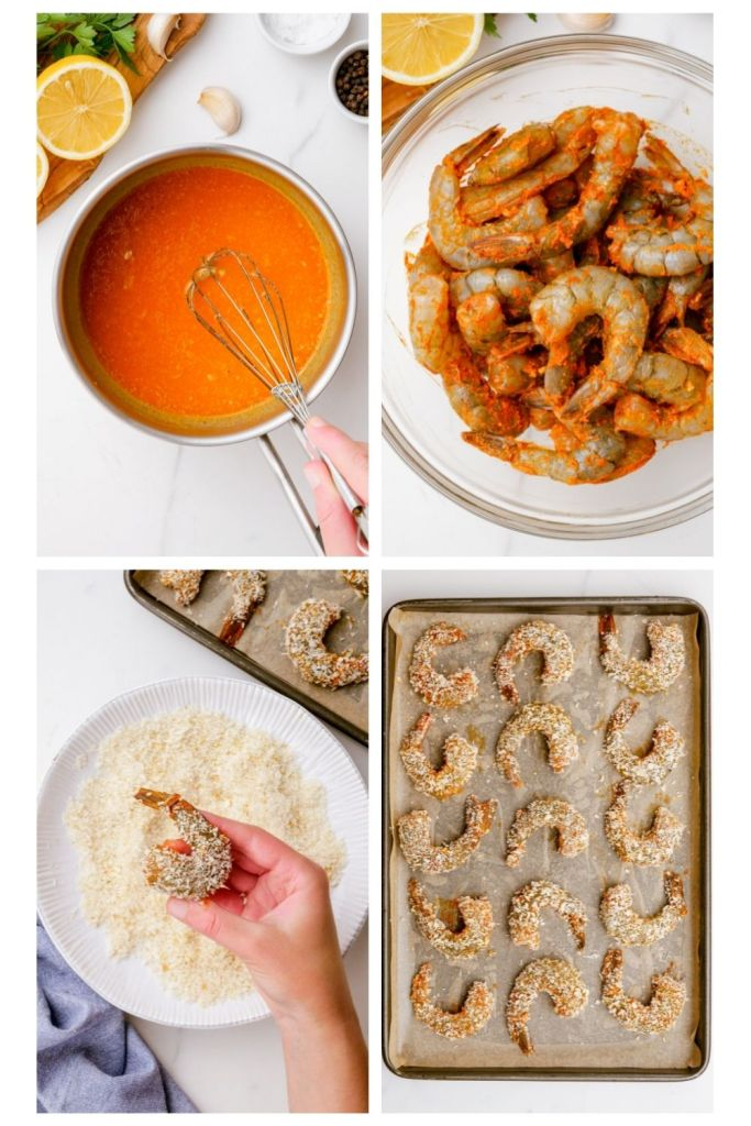 Baked shrimp that is breaded and cooked on a sheet pan for crispy, delicious results.