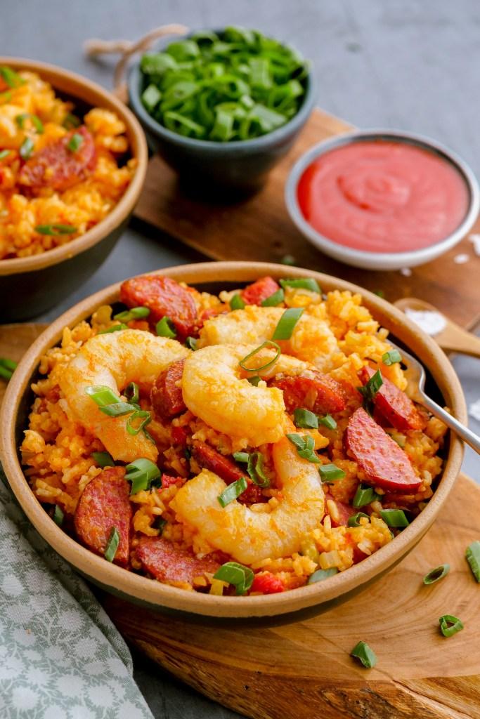 Shrimp jambalaya ready to be served