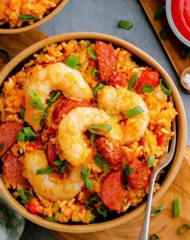 A bowl full of shrimp jambalaya