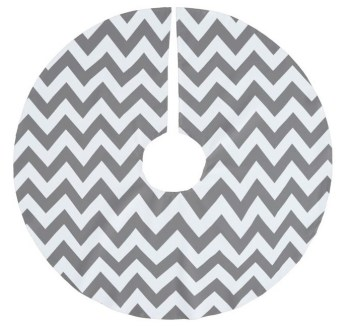 Dark Grey and White Chevron Christmas Tree Skirt