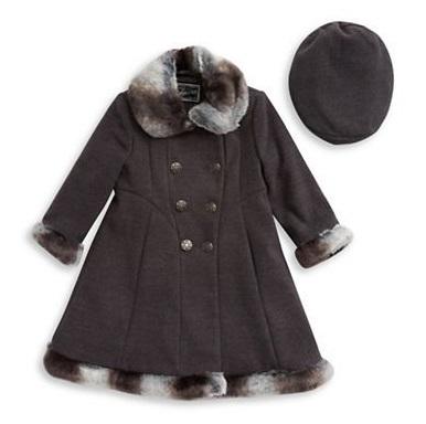 Faux-Fur-Trimmed Swing Coat Beret Set